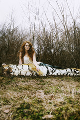 Tiffany's Tiger (jac brody) Tags: cold art love sahara nature girl grass animal photoshop backyard nashville desert tennessee tiger manipulation deviant redhair tiffany texturebybrookeshaden jacbrodyphotography