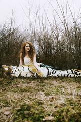 Tiffany's Tiger (jac brody) Tags: cold art love sahara nature girl grass animal photoshop backyard nashville desert tennessee tiger manipulation deviant redhair tiffany texturebybrookeshaden jacbrodyphotography