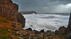 Stormy St Govan's Head (Paula J James) Tags: sea storm wales day waves westwales cloudy storms pembrokeshire stgovanshead welshcoast stgovans castlemartin westwalescoast walescoastpath 2014storms february82014 westwalesstormsfebruarystorms pembrokeshirestorms