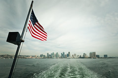 View of San Diego from whale watching boat (bob golden) Tags: sea usa port boat san view flag diego