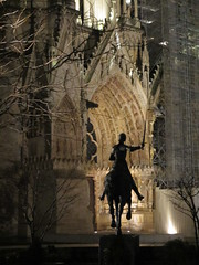 Joan of Arc statue and Reims Cathedral at night, France (Paul McClure DC) Tags: sculpture france architecture cathedral champagne medieval historic reims marne rheims feb2014