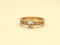 透かし模様が美しいアクアマリンの指輪  Aquamarine and diamond Ring (jewelrycraft.kokura) Tags: diamond 指輪 pinkgold ダイヤモンド アクアマリン ピンクゴールド ダイヤ ゆびわ 透かし k18 aquamarine