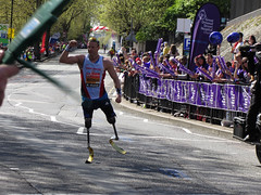 Richard Whitehead marathon (shaggy359) Tags: road street man london dogs station ferry race fence support marathon great crowd running run racing east richard fist supporter disabled barrier whitehead blade vest punch cheer runner isle blades cheering supporters participant 2014 acknowledgement acknowledge competitor ormond legless paralympic acknowledging crossharbour paralimpian