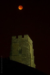 Lunar eclipse totality above St Michael's Tower, Glastonbury Tor (AndWhyNot) Tags: bloodred eclipse glastonbury lunar moon perigee supermoon tor 3104