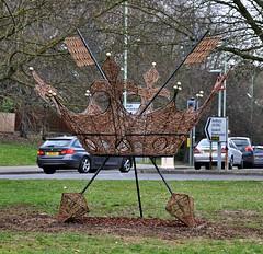 New Roundabout Sign 13-3-2017 (Martin Pettitt) Tags: burystedmundswickermetalsignuksuffolkstedmundsburynikond90greenkingcouncilwinteroutdoor2017marchroundaboutdslrafsdxvrzoomnikkor18105mmf3556ged crown 2017 burystedmunds council dslr greenking march metal nikond90 outdoor roundabout sign stedmundsbury suffolk uk wicker winter