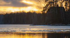 Fire&ice (KariFinland) Tags: 5dmk2 70200mm landscape ice cabin evening sunset lappeenranta pappilnanniemi finland