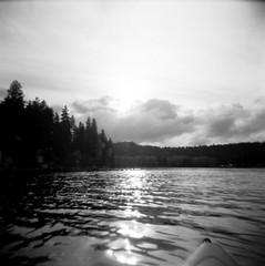 10.2016 LLWM Holga SFX BW Kayaking E0005 (Jcicely) Tags: 2016 bwfilm clouds holga kayaking lake loonlake loonlakewithmarvin october reflection sky sun trees water