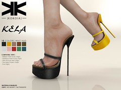 Kela :: Woman Shoes :: 10 Colors ({kokoia}) Tags: kela mesh kokoia slink shoes shoe feet black pack maitreya belleza themeshproject tmp stiletto pumps high eve summer heel straps platform secondlife 3d woman