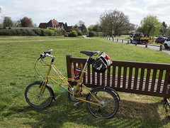 Lunch Stop in Sarratt (cycle.nut66) Tags: sarratt village green bench moulton tsr 27 tsr27 space frame steel bicycle bike cycle cycling lunch stop yellow small wheel brooks carradice rest time olympus epl1 evolt micro four thirds