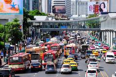 Bangkok - Street scene 2 (philk_56) Tags: bangkok thailand street scene road cars motorbikes taxis buses
