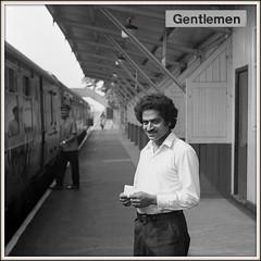 Gentlemen (david.hayes77) Tags: ng9 acutol portrait beeston 1976 nottinghamshire class120 dmu mono blackandwhite ilfordfp4 monochrome guard railwayman midlandmainline mml square