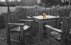 More clichéd selective colour... (Jez B) Tags: beer garden pub table chair glass pint bitter golden black white bw selective colour cliche