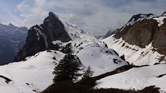 Still snowy on top (lvalgaerts) Tags: switzerland glarus glaernisch glärnisch snow alps schweiz valley spring ice clouds kloental klöntal mättlistock hike