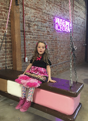 Museum Of Ice Cream - Los Angeles 2017 (evaxebra) Tags: museum ice cream icecream moic museumoficecream art pink installation losangeles la downtown 7th luna minnie mouse dress sandwich swing neon sign