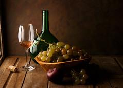 The Wine (Luiz L.) Tags: luizlaercio wine stilllife grapes bottle glass wood plum light