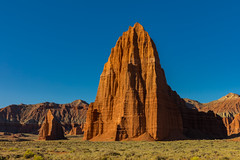 Temple of the Sun (Amar Raavi) Tags: templeofthesun templeofthemoon capitolreef cathedralvalley nationalpark dawn sunrise firstlight sunlight sandstone entrada rockformations geology erosion desert outdoors panorama landscape morning light red illuminated remote usa northamerica utah unitedstates