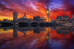 Westminster Palace and Bridge (Massimo Cuomo Photography) Tags: westminster london bridge big ben palace england uk sunset reflection massimo cuomo photography architecture clouds sky golden blue night hour