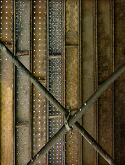 Metal Unpolished (Steve Taylor (Photography)) Tags: scaffolding x crossed scaffold plank holes pattern clamp building construction brown rust newzealand nz southisland canterbury christchurch city texture