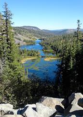 Double Falls View, Mammoth Lakes, CA 2016 (inkknife_2000 (7.5 million views +)) Tags: mammothlakes twinlakes dgrahamphotousalandscapesblue skystill watercaliforniasierra nevadamountainsalpine lakes waterreflection footbridge bridgeoverwater fallcolor forest mountains