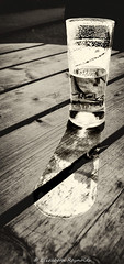 Day 107. (lizzieisdizzy) Tags: blakwhite whiteblack mono chromatic monochrome colourless outside outdoors pub table wood wooden vessel glass liquid beer bitter shandy thirstquenching thirsty quench