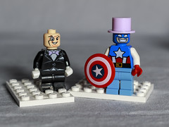 Capt America stole Penguin's hat just to insult him. (MuTant 99) Tags: home toys lego minifigures penguin captamerica canonsl1