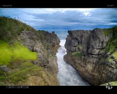 Divided Earth (tomraven) Tags: punakaiki pancakerocks westcoast coast coastal tomraven aravenimage surf sound sea sky clouds q22017 pentax k50