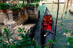 venetian gondola (lukas.798) Tags: gondola gondolier venice canal water restaurant summer sun plants flowers architecture houses oldcity historic tourists