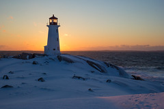 Another Peggy's Cove Sunset (Nova Scotia, Canada) (peterwaller) Tags: peggyscove novascotia ns canada sunset lighthouse winter snow cold ocean atlantic