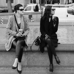 Rollei RPX 100-12 (tootalltomphoto) Tags: women ladies girls coffee sunglasses trafalgar square london trafalgarsquare streetphotography blackandwhite bw people peoplewatching rolleirpx100 canonaseries canonfilmcamera canon analogue analog canon135mmf28 film 35mm