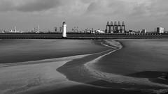 "a ""bright"" morning in New Brighton (lunaryuna) Tags: england wirralpeninsula greaterliverpool newbrighton merseyside rivermersey docks newbrightonbeach windfarms river urbannature blackwhite bw monochrome lunaryuna"