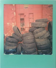 Tired Tires (o_stap) Tags: outside streetphoto street film600 polaroid600 polaroid instant analog roidweek polaroidweek impossibleproject ishootfilm believeinfilm instagramapp square squareformat iphoneography