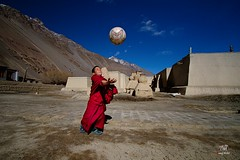 A young Monk Playing (manuj mehta) Tags: himalayas himachal spiti tabo monk young awesome shots street photography photos playing lama buddha landscape monastery