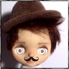 """Blythe-a-Day April#24 Moustache Monday: Eli Thinks about """"When I Grow Up To Be a Man"""""""