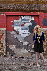 One Step, then another Step (Deathexit12) Tags: girl danielle blonde model barefoot glasses tattoos skirt abandoned factory illinois urbex self portrait selfportrait 10secondtimerdash deathexit12 canon decay paint