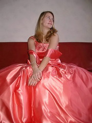 Cute young lady (Paula Satijn) Tags: girl young lady blond blonde orange satin silk dress gown ballgown shiny skirt beauty gorgeous elegance feminine girly pretty class cute sweet glamour glamorous