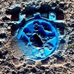 ARD... (Rhisiart Hincks) Tags: gwead texture ceredigion metalcover gorchuddmetal glas blue yborth karrez karratu cèarnagach square sgwâr