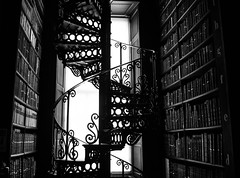 The golden section (Jethro_aqualung) Tags: trinity college dublin ireland éire irlanda dublino library bw bn monochrome books fibonacci number golden section sezione aurea numero spiral spirale scala chiocciola strairs nikon d3100