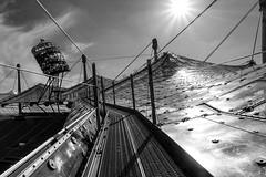 Roof Climb (bayernphoto) Tags: olympiapark bmw welt park muenchen munich bayern bavaria see zeltdach tour fruehling spring blueten wiese ausblick architektur modern stadion alpenblick frauenkirche innenstadt sw schwarzweiss sonnenstern zentralperspektive olympiastadion olympic 1972 games
