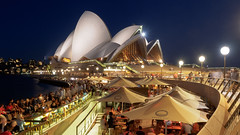 Lively Sydney (blue polaris) Tags: australia nsw new south wales sydney opera house bar dusk blue hour night light life crowd travel