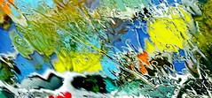 Water Art: Rainy day windshield distortions (peggyhr) Tags: peggyhr waterart distortions carpark windshield rain colourful trees personinayellowrainslicker red white green black blue orange grey vancouver bc canada dsc00403a level1pfr eyecandyartpost infinitexposurel1 level2photographyforrecreation thegalaxy super~sixbronze☆stage1☆ thegalaxystars thegalaxyhalloffame super~six☆stage2☆silver