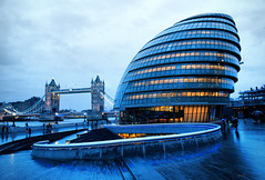 Norman Foster's City Hall, Blue Hour (McHeras) Tags: city uk bridge england house london tower glass thames architecture river ed hall nikon mayor walk united authority kingdom norman queens architect foster f borough greater 28 mm nikkor f28 scoop southwark afs gla the gonad 2470mm 2470 f28g d700