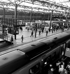 Leeds Train station (Ajay Kumar Photography) Tags: travel people blackandwhite white black station train carriage leeds tracks fast trainstation rush rushhour onthemove leedstrainstation