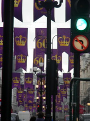 Celebrating queens 60 years coronation banners purple gold Regent Street London England 15th June 2013 republic 15-06-2013 17-35-52 (dennoir) Tags: