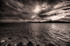 ~~ (Ko Satori) Tags: light sunset sea nature monochrome clouds rocks grain wideangle greece noise hdr paleros sigma1020mmf456exdc kostasharilogis pentaxk5