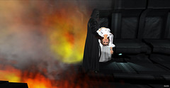 The Dark Side II - Star Wars (Bleem Belargio) Tags: orange black yellow fire starwars space smoke flames sl secondlife princessleia spacestation spaceship darthvader carrying whitedress