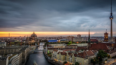 Central Berlin (tomkpunkt) Tags: street blue light red sky building berlin church architecture clouds contrast germany deutschland lights abend licht nikon colorful post himmel wolken haus a