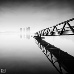 Mist (Shahrulnizam KS) Tags: trip morning bridge urban blackandwhite white building art water monochrome beautiful look architecture modern sunrise square photography blackwhite amazing asia artistic dam infinity jetty fineart smooth tranquility millenium best squareformat simplicity end putrajaya incredible minimalist tranquil forward asean silky separated gettyimage lookingforward leadingline nikond90 silverefexpro shahrulnizamks