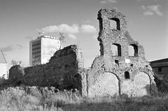 Pokj z dziecistwa  (childhood room) (airSnapshooter) Tags: city sky bw sun building abandoned film analog 35mm ruins europa europe poland polska d76 negative analogue citycentre gdansk danzig gdask