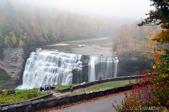 Letchworth State Park - Middle Falls (Wide Shot) (Scott Kinmartin) Tags: park autumn ny color fall nature water leaves landscape outdoors scenery colorful state waterfalls letchworth letchworthstatepark castile middlefalls portageville