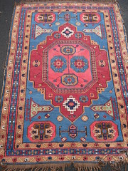 "C. 1900 CAUCASIAN KARABAUGH RUG. • <a style=""font-size:0.8em;"" href=""http://www.flickr.com/photos/51721355@N02/10613543915/"" target=""_blank"">View on Flickr</a>"